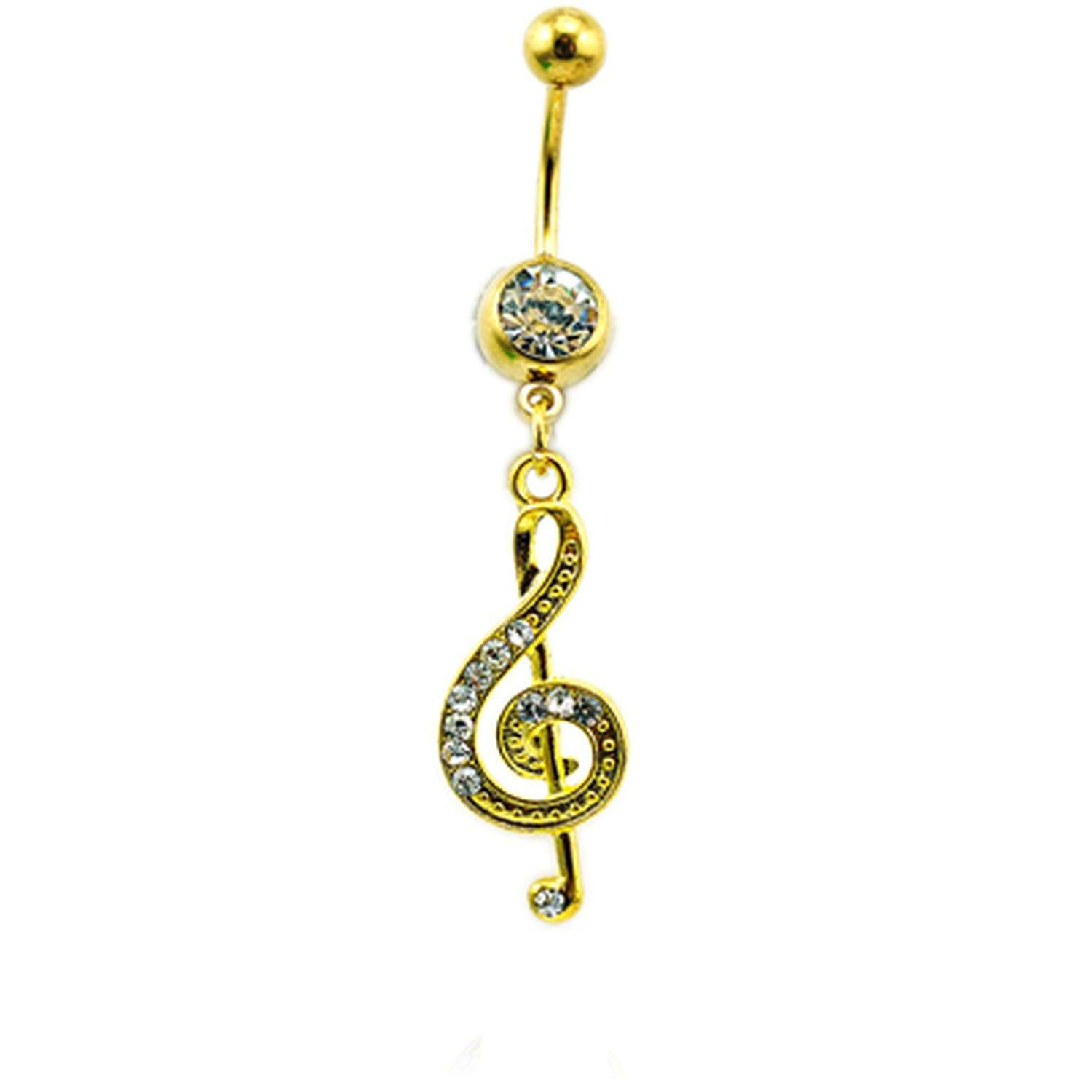 Flamingogogo Classic Belly Button Rings Stainless Steel Barbells Dangle Crystal Music Navel Piercing for Women Body Jewelry