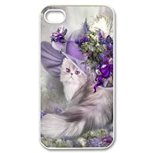 Iphone 4,4S CAT Phone Back Case DIY Art Print Design Hard Shell Protection FG058240