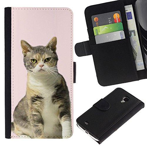 EuroCase - Samsung Galaxy S4 Mini i9190 MINI VERSION! - pink American British shorthair curl cat - Cuero PU Delgado caso cubierta Shell Armor Funda Case Cover