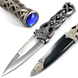 Ace Martial Arts Supply New Scottish Celtic Gaelic Twist Knot Blue Ruby Gemstone Wicca Dirk Dagger Knife, 9-Inch