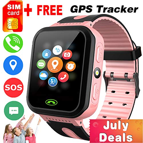 (iGeeKid [SIM Card Included] Kids Smart Watch Phone GPS Tracker for Girls Boys Touch Screen Fitness Tracker with Camera Anti-Lost SOS Game Electronic Learning Toy for Birthday Gifts)