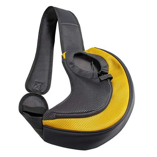 BreTT1QIN9 Pet Puppy Dog Carrier Outdoor Travel Single Shoulder Bag Mesh Pouch Handbag - Yellow L