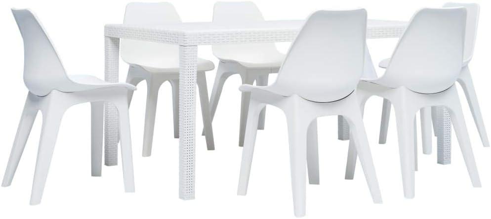 Tavolo Sedie Giardino Plastica.Vidaxl Set Pranzo Da Giardino 7 Pz In Plastica Bianco Tavolo Sedie