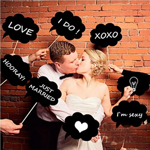 Yoyorule 10 Pcs Photo Booth Prop DIY Bubble Speech Chalk Board Wedding (Diy Halloween Photography Backdrops)