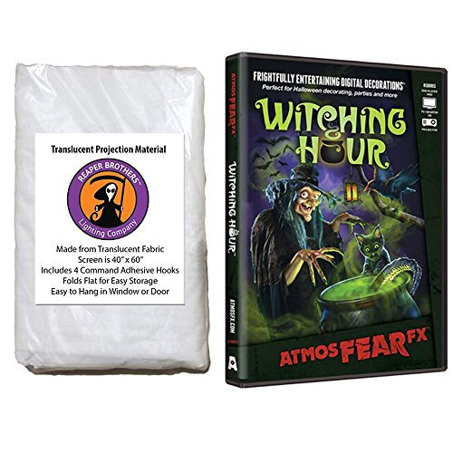 Kringle Bros AtmosFearFX Witching Hour Halloween DVD and Reaper Brothers High Resolution Window Projection Screen -