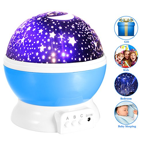Star Night Light Projector, Star Light Rotating Projector, Constellation Rotating Star Projector Lamp with 4 Colors and 360°Moon Star Projection with USB Cable - The Best Gift for Friends and (Four Light Celing Lamp)