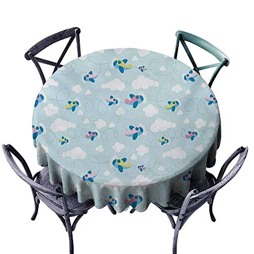 VIVIDX Indoor/Outdoor Round Tablecloth,Kids,Cartoon Style Sky with Airplanes and Clouds Swirls Scrapbook Design Pattern,Modern Minimalist,63 INCH,Baby Blue Pink White