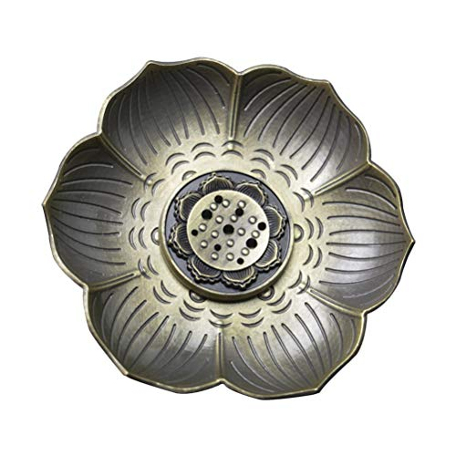 (Vosarea Incense Holder Burner Lotus Flower Incense Ash Catcher Tray Metal Incense Burner Plate Dish (Aeneous))