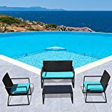 PATIORAMA 4-Piece Outdoor Patio Furniture Sectional Conversation Set, Black Wicker with Blue Cushions, Loveseat and Two Single