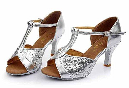 YFF Mädchen Ballroom tango Frauen salsa Latin Dance Schuhe 5 cm und 7 cm hohem Absatz,Silber Gold,7.