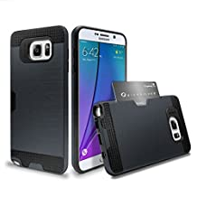 Note 5 Case, Galaxy Note 5 Case, Asstar [Card Slot] Dual Layer Hybrid Armor Rugged Plastic Hard Shell Flexible TPU Bumper Protective Wallet Cover Case for Samsung Galaxy Note 5 (Black)