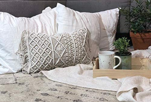 Essential Nik Naks Macrame Lumbar Cushion Pillow Cover - %100 Cotton Hypoallergenic Materials - Handmade Knotted Beige Cream Zipper Tassel - Bohemian Farmhouse Style Couch Pillow Bed Throw (20, 12)