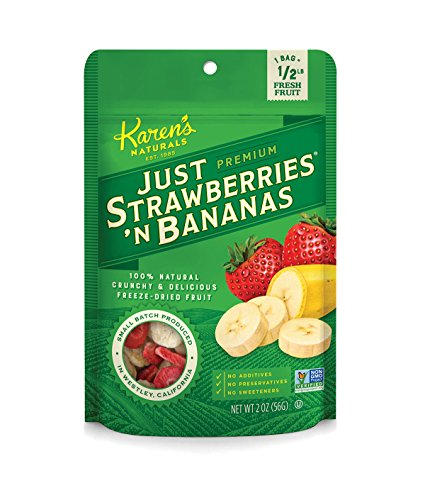 Karen's Naturals Organic Just Strawberries 'N Bananas, 2 Ounce Pouch Organic All Natural Freeze-Dried Fruits & Vegetables, No Additives or Preservatives, Non-GMO
