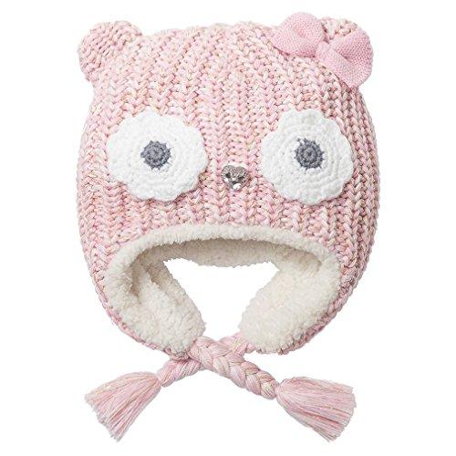 Eriso Little Girl Baby Winter Soft Fleece Hat Earflap Pink Owl (S/1-3 (Fleece Baby Fleece Hat)