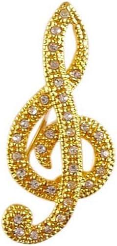 Stunning Gold Crystal treble clef Brooch