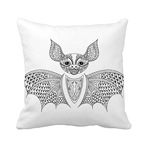 Awowee Throw Pillow Cover Zentangle Bat Totem for Adult Anti Stress Coloring Page 18x18 Inches Pillowcase Home Decorative Square Pillow Case Cushion Cover]()