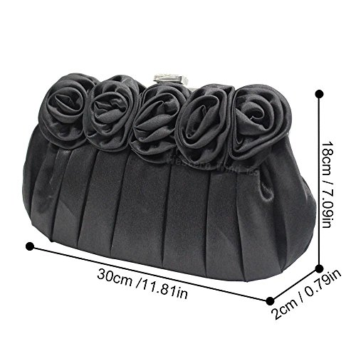 amp; Ladies Womens Party Black Crystal Wocharm Satin Evening Bags Bags Clutch Prom Floral Wedding Wedding xEdFdqC0w