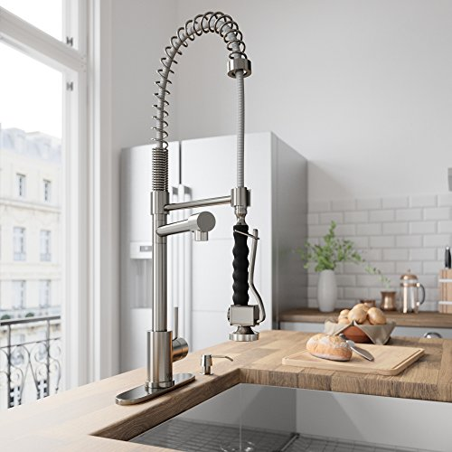VIGO VG02007STK1 Zurich Single Handle Pull-Down Sprayer Kitchen Sink Faucet with Deck Plate, Centerset Single Hole Faucet, Commercial-Style Design, Premium Stainless Steel Finish