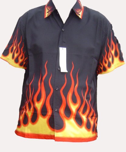 aed0b2f01 Boston Fire Flame Shirt - Black - Xl: Amazon.co.uk: Clothing