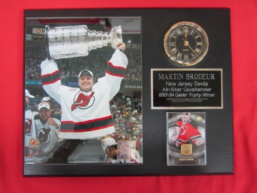 Martin Brodeur New Jersey Devils Collectors Clock Plaque w/8x10 Stanley Cup Photo and - Jersey New Devils Plaque