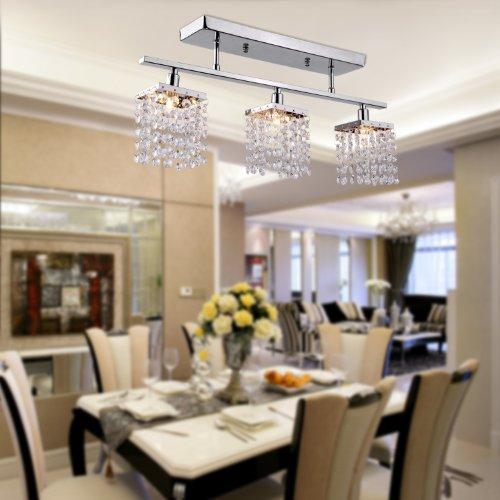 Y&L® Ecopower Lighting Glass & Crystal Pendant Lighting Modern Chandelier for Kitchen-3 Lights