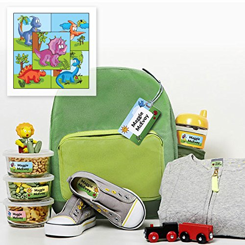 - Personalized Waterproof Weatherproof No-Sew Preschool Daycare Package including Labels and Bag Tags Babies Kids and Toddlers (Dinosaurs Theme)