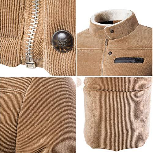 Zacard Stand Giacca Uomo Addensare Velluto Maschile 3xl Design Inverno up Autunno Cappotto Khaki A Colletto Abbigliamento Monopetto Caldo Coste Moda Pocket rqvZCrwEx