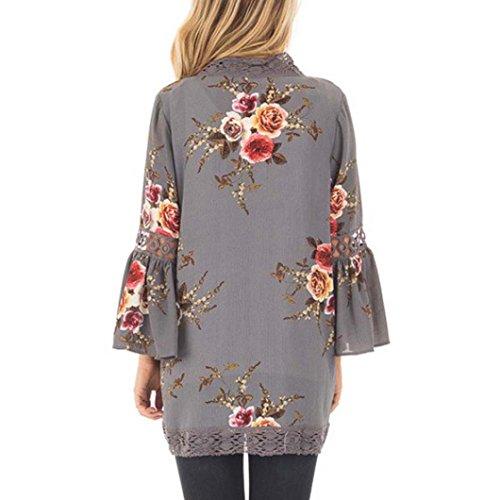 Chaqueta Casual Floral Blusa Gris Kimono Mujer Suelto Cárdigan DAYLIN Impresión Capa Encaje wpq1Szzxa