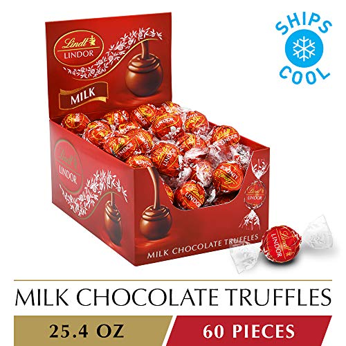 Lindt LINDOR Milk Chocolate Truffles, 60 Count Box, 25.4 Ounce (Premium Belgian Chocolate Truffles)
