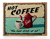 Cheap Hot Coffee Metal Sign on Rustic Barn Wood Frame, retro kitchen, coffee pot decor