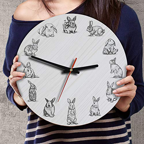 Rabbit Clock - VTH Global 12 Inch Silent Battery Operated Bunny Rabbit Wood Wall Clocks Gifts for Dad Mom Pet Lovers