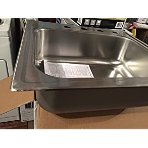 Elkay Signature Drop-In Stainless Steel 21-3/8 in. x 24-3/8 in. x 8.25 in. 4 Hole Single Bowl Kitchen Sink SLPF25224