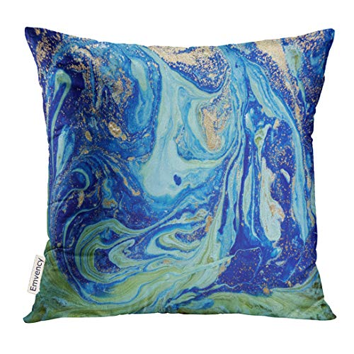 Golee Throw Pillow Cover Yellow Acrylic Marbled Green and Blue Abstract