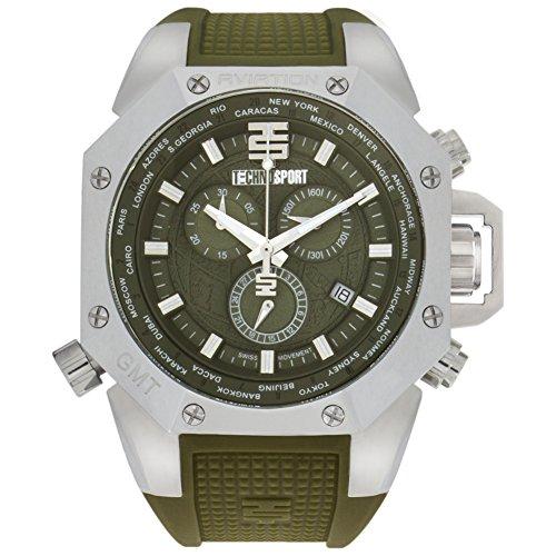 Technosport TS-100-8AV Men's World Timer GMT Swiss Chronograph Military Green Watch