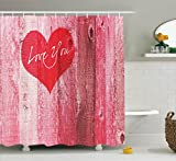 Best Wooden Hearts love Friend Items For Girls - Ambesonne Love Decor Shower Curtain for Mothers Day Review