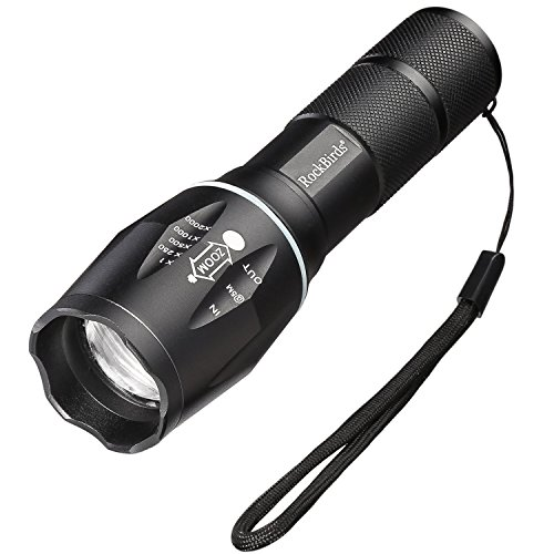 Flashlights, LED Flashlight Rockbirds Water Resistant 5 Modes Tactical Flashlight for Camping, Hiking, Hunting