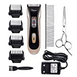 Ecoastal® Dog Grooming Clippers Pet Cordless Rechargeable Trimmer Kit With 4 Detachable Blades Combs- Absolute Low Noise Professional Cat Dog Electric Trimming Kit