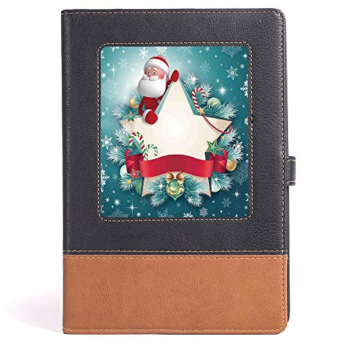 Banner Students Star - Classic Retro Hardcover Business Student Notebook - Christmas Decorations - Santa Star Banner Snowflakes Ribbon and Candy Cane Tree Winter Theme - 100 Ruled Sheets - A5/6.04x8.58 in