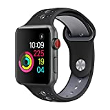 GHIJKL Sports Band for Apple Watch 38mm 42mm, Soft Silicone Replacement iWatch Wristband for Apple Watch Sport, Series 1, 2, 3-Black/Gray-38mm