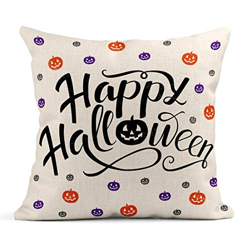 Tarolo Throw Pillow Covers Happy Halloween Lettering Pumpkins in Orange Violet and Gray Colors Trick Treat for Party Magazines Linen Cushion Cases Home Decorative Pillowcases 18 x 18 inches ()