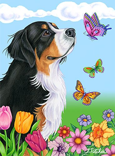 Bernese Mountain Dog - Best of Breed Butterfly Garden Flag - Bernese Mountain Dog Garden Flag