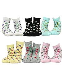 TeeHee (Naartjie) Kids Girls Cotton Fashion Fun Crew Socks 6 Pair Pack
