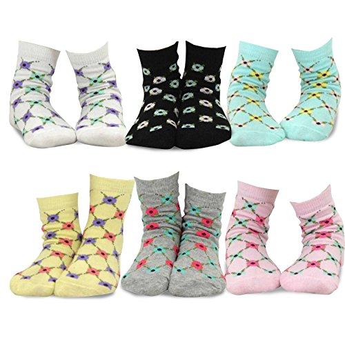 Trellis Stripe - TeeHee Kids Girls Cotton Fashion Crew Socks 6 Pair Pack (9-10Y, Floral Trellis Stripe)