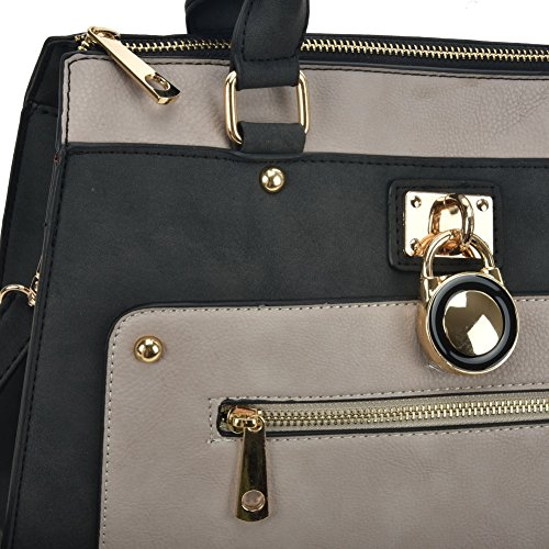 Designer Detail YOUNG Grey handbag Zip Front Women Bag Tote SALLY Fashion fPt0SS