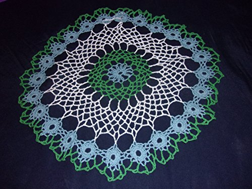 Old World Linens (Blue and White Doily, 15 inches, Old World Doily, Lace Table Piece)