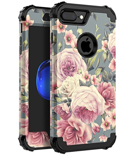 AugeCase Case for iPhone 7 Plus,Case for iPhone 8 Plus Three Layer Bumper Heavy Duty Comfortable Holding Cute Protective Case for Girls Women Fit for iPhone 7 Plus/8 Plus,Flowers Black