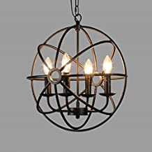 BAYCHEER HL422105 Industrial Vintage Retro LOFT style wrought iron Metal Globe Cage Round Pendant Lamp Fixture Pendant Light Chandelier with 4-light