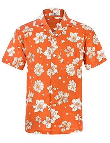 Men's Hawaiian Shirt Short Sleeve Aloha Shirt Beach Party Flower Shirt Holiday Print Casual Shirts Orange EHS027-3XL ()