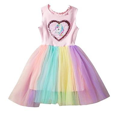 06d41f3284a25 LUBITY Robe Enfant Bébé Fille Chic Amour sans Manches Volants Robe de  Paillettes Épissage Couleur Robe