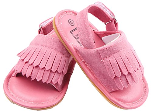 La Vogue Sandalias Bebé Zapatos Primeros con Borlas Rosa Talla13/12.5cm